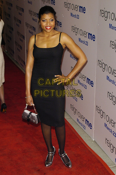 """TARAJI HENSON .Premiere of Sony Pictures """"Reign Over Me"""" Skirball Center at NYU, 566 La Guardia Place, New York, New York, USA..March 20th, 2007.full length black dress hand on hip silver bag purse .CAP/ADM/BL.©Bill Lyons/AdMedia/Capital Pictures *** Local Caption ***"""