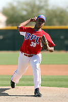 Dioscar Romero #38 of the Dominican Prospect League All-stars plays against the Langley (British Columbia) Blaze in an exhibition game at Surprise Recreational Complex, the Texas Rangers minor league complex, on March 22, 2011 in Surprise, Arizona..Photo by:  Bill Mitchell/Four Seam Images