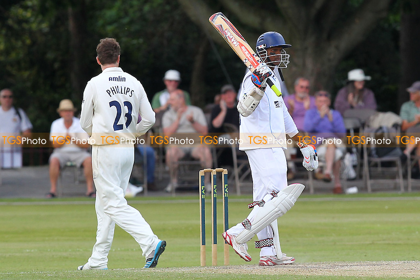 Shivnarine Chanderpaul of Derbyshire celebrates his half-century - Derbyshire CCC vs Essex CCC - LV County Championship Division Two Cricket at Queen's Park, Chesterfield - 09/07/14 - MANDATORY CREDIT: Gavin Ellis/TGSPHOTO - Self billing applies where appropriate - 0845 094 6026 - contact@tgsphoto.co.uk - NO UNPAID USE