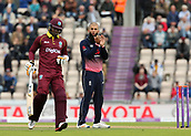 29th September 2017, Ageas Bowl, Southampton, England; One Day International Series, England versus West Indies; Moeen Ali of England applauds the fielding during his over, as West Indies Marlon Samuels enters his crease