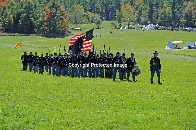 Civil War Reenactment Union Army Marching in Victory after Battle