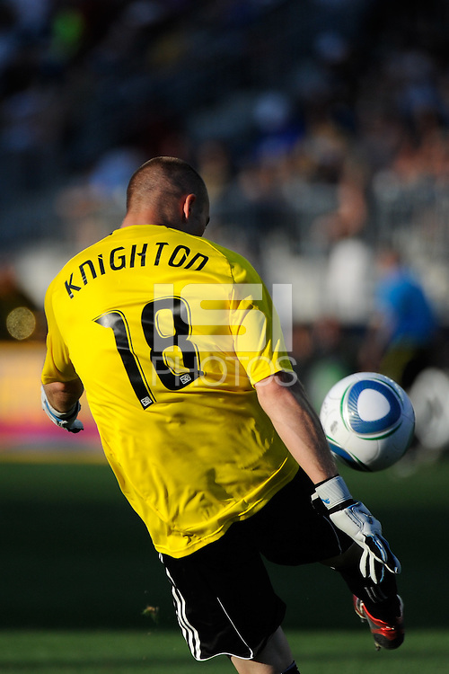 Philadelphia Union goalkeeper Brad Knighton (18). The Philadelphia Union defeated CD Chivas USA 3-0 during a Major League Soccer (MLS) match at PPL Park in Chester, PA, on September 25, 2010.