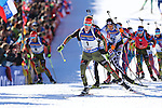 IBU World Championships Biathlon 2017 Hochfilzen. Germany's Simon Schempp wins the Gold Medal of the Men 15 km Mass Start Race in Hochfilzen, Austria on 20170219. Johannes Thingnes Boe from Norway takes the Silver and Austria's Simon Eder takes the Bronze Medal.