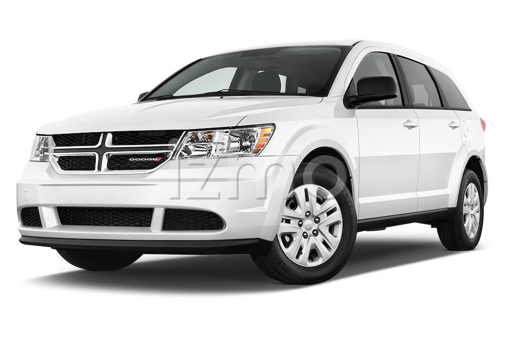 Stock pictures of low aggressive front three quarter view of a 2015 Dodge Journey American Value Package 5 Door SUV Low Aggressive