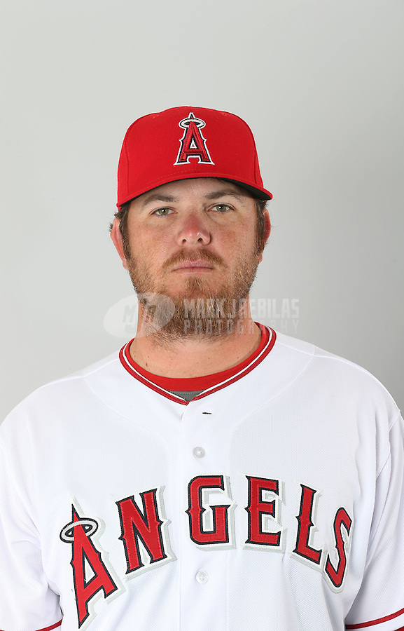 Feb. 21, 2013; Tempe, AZ, USA: Los Angeles Angels pitcher Bobby Cassevah poses for a portrait during photo day at Tempe Diablo Stadium. Mandatory Credit: Mark J. Rebilas-