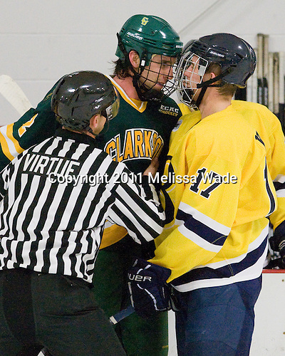 Nik Pokulok (Clarkson - 2), Alex Kubiak (Bentley - 17) - The visiting Clarkson University Golden Knights defeated the Bentley University Falcons 3-2 on Friday, October 28, 2011, at John A. Ryan Rink in Watertown, Massachusetts.