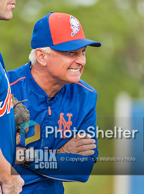 8 March 2015: New York Mets Manager Terry Collins watches warm ups prior to a Spring Training game against the Boston Red Sox at Tradition Field in Port St. Lucie, Florida. The Mets fell to the Red Sox 6-3 in Grapefruit League play. Mandatory Credit: Ed Wolfstein Photo *** RAW (NEF) Image File Available ***