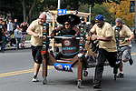 WATERBURY, CT - 08 OCTOBER 2017 -101417JW10.jpg -- The Crystal Rock's own Cool Beans Coffee team races during the 2017 United Way Bed Race Fundraiser Saturday afternoon. Jonathan Wilcox Republican-American
