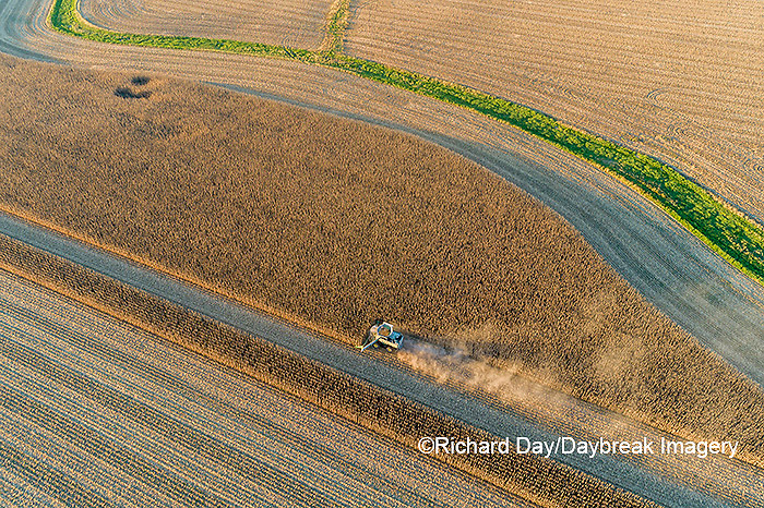 63801-13110 Harvesting corn in fall-aerial  Marion Co. IL