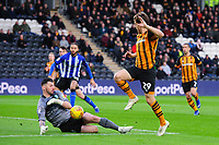 Sheffield Wednesday's Keiren Westwood saves at close range from Hull City's Chris Martin<br /> <br /> Photographer Chris Vaughan/CameraSport<br /> <br /> The EFL Sky Bet Championship - Hull City v Sheffield Wednesday - Saturday 12th January 2019 - KCOM Stadium - Hull<br /> <br /> World Copyright © 2019 CameraSport. All rights reserved. 43 Linden Ave. Countesthorpe. Leicester. England. LE8 5PG - Tel: +44 (0) 116 277 4147 - admin@camerasport.com - www.camerasport.com