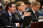 From left, Economic Analyst Jeremy Aguero, Gov. Brian Sandoval's Chief of Staff Mike Willden and Deputy Chief of Staff Chris Nielsen testify in committee at the Legislative Building in Carson City, Nev., on Monday, May 25, 2015. <br /> Photo by Cathleen Allison