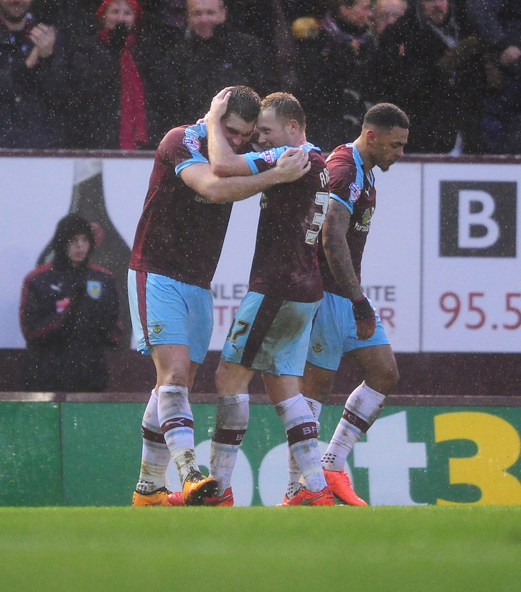 Burnley's Sam Vokes, left, celebrates scoring the opening goal with team-mate Scott Arfield<br /> <br /> Photographer Chris Vaughan/CameraSport<br /> <br /> Football - The Football League Sky Bet Championship - Burnley v Hull City - Saturday 6th February 2016 - Turf Moor - Burnley <br /> <br /> &copy; CameraSport - 43 Linden Ave. Countesthorpe. Leicester. England. LE8 5PG - Tel: +44 (0) 116 277 4147 - admin@camerasport.com - www.camerasport.com
