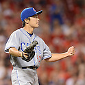 Tsuyoshi Wada (Cubs),<br /> JULY 8, 2014 - MLB :<br /> Pitcher Tsuyoshi Wada of the Chicago Cubs reacts in the fifth inning during the second game of a Major League Baseball doubleheader against the Cincinnati Reds at Great American Ball Park in Cincinnati, Ohio, United States. (Photo by AFLO)