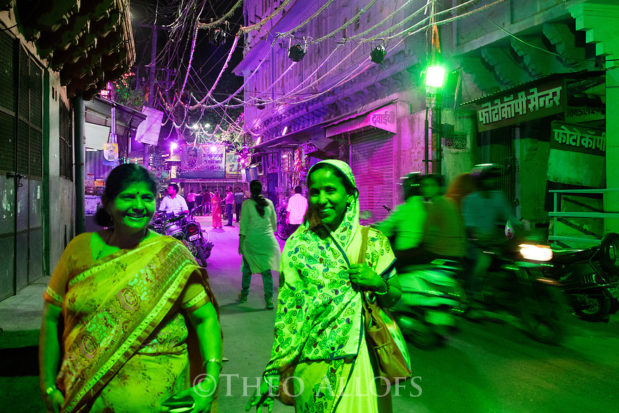 India, Jodhpur, Blue City, Historical City, main street in Blue City at night