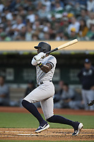 OAKLAND, CA - AUGUST 20:  Cameron Maybin #38 of the New York Yankees bats against the Oakland Athletics during the game at the Oakland Coliseum on Tuesday, August 20, 2019 in Oakland, California. (Photo by Brad Mangin)