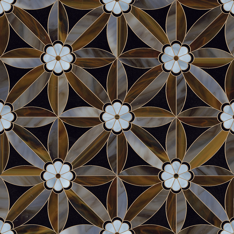 Edie, a waterjet jewel glass mosaic shown in Obsidian, Lavastone, Tortoise shell and Amazonite, is part of the Silk Road® collection by New Ravenna.