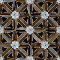 Edie , a waterjet jewel glass mosaic, shown in Obsidian, Lavastone, Tortoise shell and Amazonite.