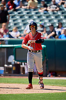 Josh Fuentes (7) of the Albuquerque Isotopes bats against the Salt Lake Bees at Smith's Ballpark on April 22, 2018 in Salt Lake City, Utah. The Bees defeated the Isotopes 11-9. (Stephen Smith/Four Seam Images)