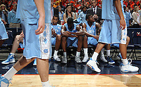 The North Carolina Tar Heel starters prepare for the game against Virginia in Charlottesville, Va. North Carolina defeated Virginia 54-51.