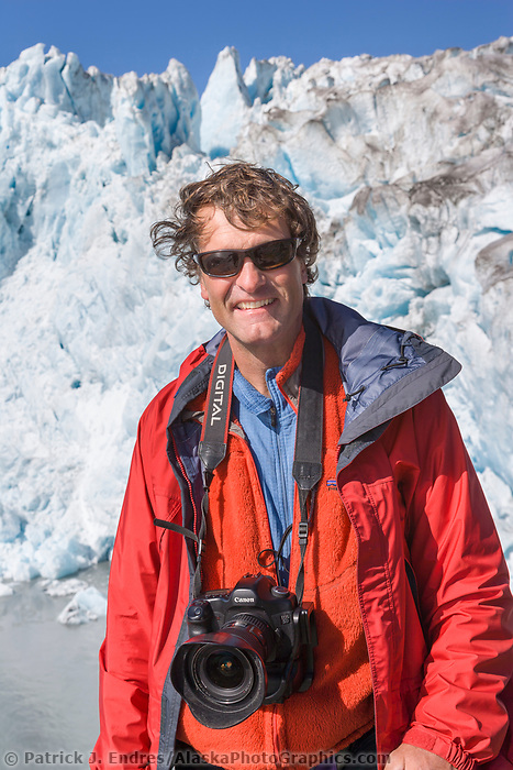 Guide and photographer Hugh Rose, Chenega glacier, Prince William Sound, Alaska.