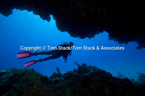 Scuba diver, Eleuthera, Bahamas  Model Released