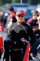 Sep 14, 2013; Charlotte, NC, USA; NHRA top fuel dragster driver Billy Torrence during qualifying for the Carolina Nationals at zMax Dragway. Mandatory Credit: Mark J. Rebilas-