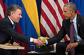 (L to R) President of Colombia Juan Manuel Santos shakes hands with United States President Barack Obama during a bilateral meeting at the Lotte New York Palace Hotel, September 21, 2016 in New York City. In Tuesday's speech to the United Nations General Assembly, Obama stated that 'helping Colombia end Latin America's longest war' was among his major accomplishments as president. Last month, the Colombian government reached a peace agreement with the Revolutionary Armed Forces of Colombia (FARC). <br /> Credit: Drew Angerer / Pool via CNP