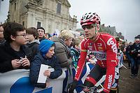 Jurgen Roelandts (BEL) to the sign-in<br /> <br /> Omloop Het Nieuwsblad 2014