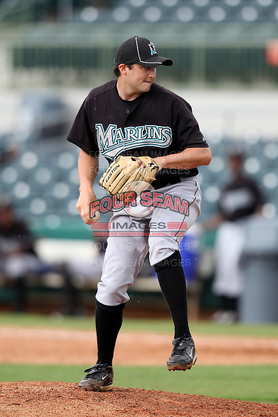 GCL Marlins Brad Mincey #34 during a game against the GCL Astros at Osceola County Stadium on June 25, 2011 in Kissimmee, Florida.  The Astros defeated the Marlins 5-2 after the game was ended in the sixth inning due to heavy rain.   (Mike Janes/Four Seam Images)