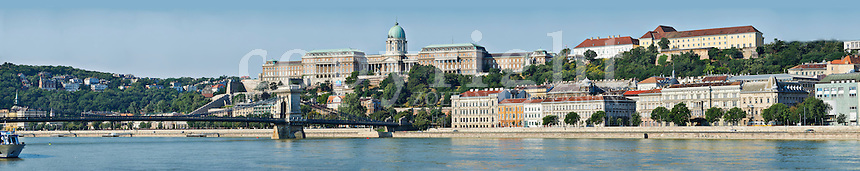 Panoramic view of the Buda side of the Danube in Budapest with the Castle and the Chain Bridge