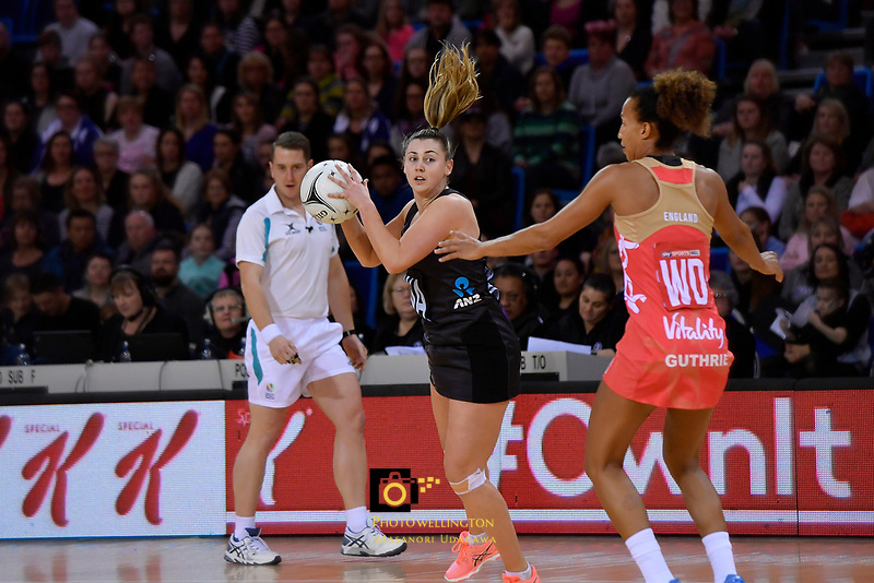 Silver Ferns' Gina Crampton in action during the International Netball - NZ Silver Ferns v England Roses at Te Rauparaha Arena, Porirua, New Zealand on Thursday 7 September 2017.<br /> Photo by Masanori Udagawa. <br /> www.photowellington.photoshelter.com
