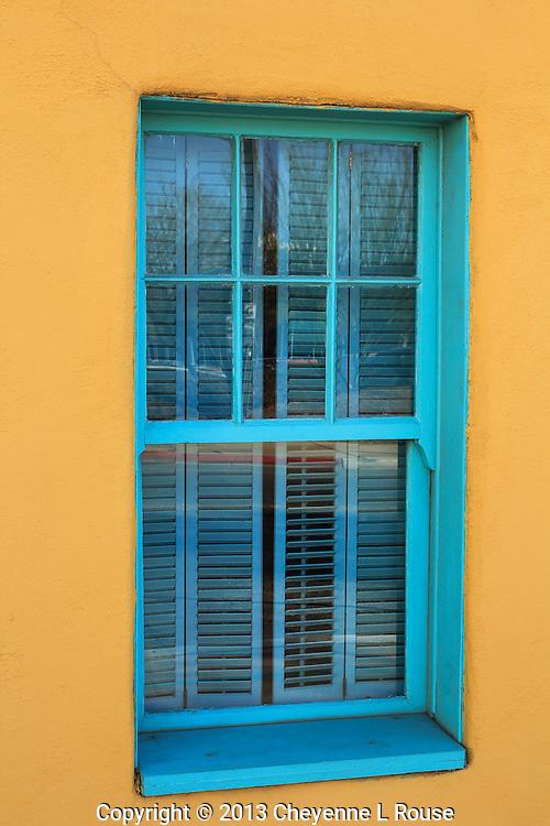 Turquoise Window and Yellow Adobe -  Arizona