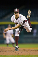 Relief pitcher Ross Hales #28 of the Texas A&M Aggies follows through on his delivery versus the Houston Cougars in the 2009 Houston College Classic at Minute Maid Park March 1, 2009 in Houston, TX.  The Aggies defeated the Cougars 5-3. (Photo by Brian Westerholt / Four Seam Images)
