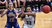 NWA Democrat-Gazette/J.T. WAMPLER Fayetteville's Jasmine Franklin tries to get the ball in front of Mountain Home's Hannah Pfeifer Tuesday Nov. 14, 2017. Fayetteville won 51-30.