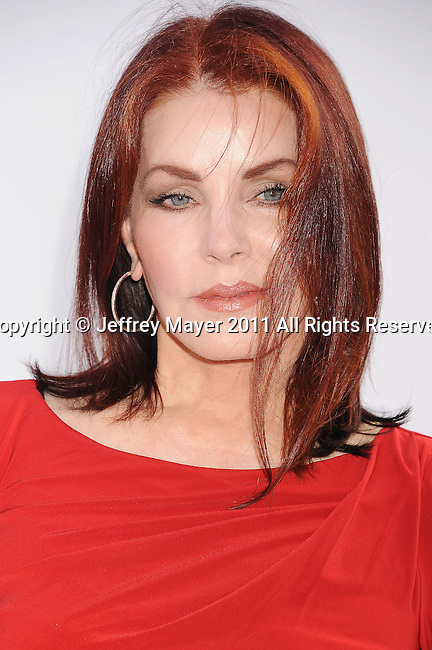 "HOLLYWOOD, CA - SEPTEMBER 25: Priscilla Presley attends Premiere Of ""Iris"" - A Journey Into The World Of Cinema By Cirque du Soleil at the Kodak Theatre on September 25, 2011 in Hollywood, California."