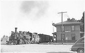 D&amp;RGW #478 with San Juan passenger train making the La Jara station stop.<br /> D&amp;RGW  La Jara, CO  Taken by Richardson, Robert W. - 9/9/1946