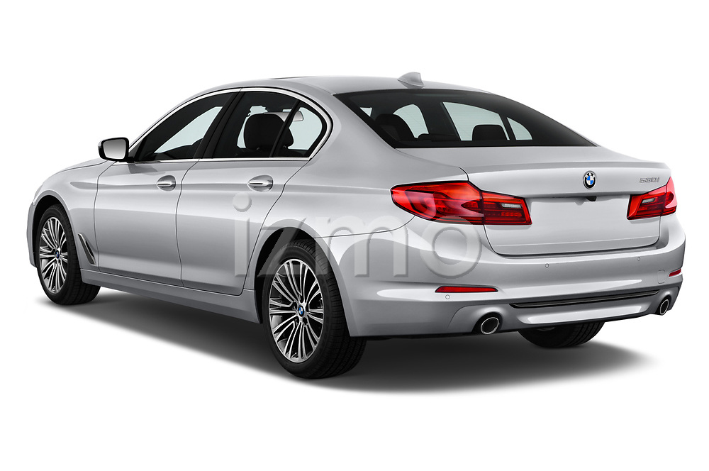 Car pictures of rear three quarter view of a 2018 BMW 5 Series 530i 2WD 4 Door Sedan angular rear