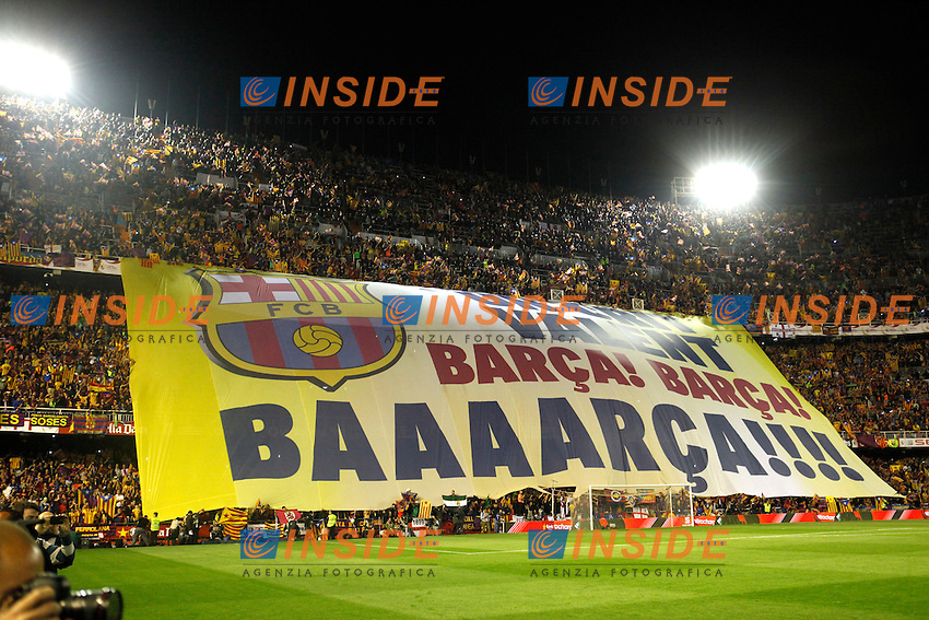 F.C. Barcelona&Acirc;&acute;s supporters holding a banner during the Spanish Copa del Rey `King&Acirc;&acute;s Cup&Acirc;&acute; final soccer match between Real Madrid and F.C. Barcelona at Mestalla stadium, in Valencia, Spain. April 16, 2014. (ALTERPHOTOS/Victor Blanco) <br /> Finale Coppa del Re<br /> Real Madrid Barcellona <br /> Foto Insidefoto