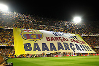 F.C. Barcelona´s supporters holding a banner during the Spanish Copa del Rey `King´s Cup´ final soccer match between Real Madrid and F.C. Barcelona at Mestalla stadium, in Valencia, Spain. April 16, 2014. (ALTERPHOTOS/Victor Blanco) <br /> Finale Coppa del Re<br /> Real Madrid Barcellona <br /> Foto Insidefoto