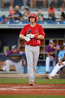 Palm Beach Cardinals left fielder J.B. Woodman (19) at bat during a game against the Charlotte Stone Crabs on April 21, 2018 at Charlotte Sports Park in Port Charlotte, Florida.  Charlotte defeated Palm Beach 5-2.  (Mike Janes/Four Seam Images)