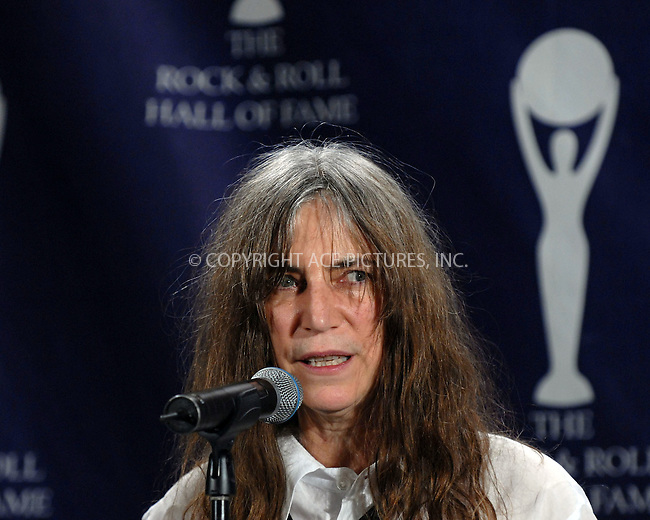 WWW.ACEPIXS.COM . . . . .....March 12 2007, New York City....Honoree Patti Smith in the press room at the 22nd annual Rock And Roll Hall Of Fame Induction Ceremony at the Waldorf Astoria Hotel..  ....Please byline: Kristin Callahan - ACEPIXS.COM..... *** ***..Ace Pictures, Inc:  ..Philip Vaughan (646) 769 0430..e-mail: info@acepixs.com..web: http://www.acepixs.com