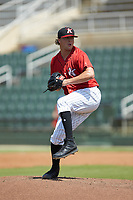 Kannapolis Intimidators relief pitcher William Kincanon (29) in action against the Greensboro Grasshoppers at Kannapolis Intimidators Stadium on August 5, 2018 in Kannapolis, North Carolina. The Grasshoppers defeated the Intimidators 2-1 in game one of a double-header.  (Brian Westerholt/Four Seam Images)