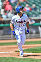 Tennessee Smokies third baseman Jason Vosler (22) runs to first base after hitting a home run during a game against the Jackson Generals at Smokies Stadium on April 11, 2018 in Kodak, Tennessee. The Generals defeated the Smokies 6-4. (Tony Farlow/Four Seam Images)