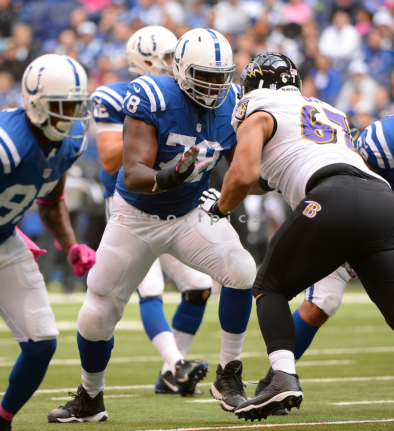Indianapolis Colts Gosder Cherilus (78) during a game against the Baltimore Ravens on October 5, 2014 at Lucas Oil Stadium in Indianapolis, IN. The Colts beat the Ravens 20-13.