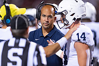 College Park, MD - SEPT 27, 2019: Penn State Nittany Lions head coach James Franklin on the sideline during game between Maryland and Penn State at Capital One Field at Maryland Stadium in College Park, MD. The Nittany Lions beat the Terps 50-0. (Photo by Phil Peters/Media Images International)