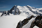 Base camp below Mont-Blanc seen from Aiguille du Midi, Chamonix-Mont-Blanc, France