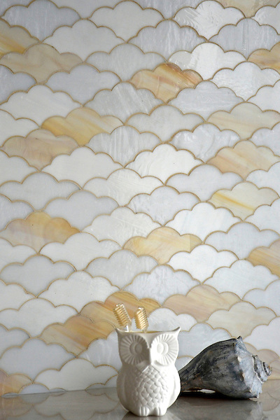 Clouds, a jewel glass mosaic in Opal, Agate, and Moonstone, is part of the Erin Adams Collection for New Ravenna.