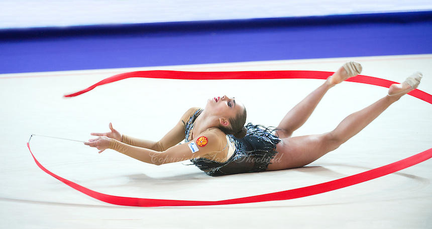 RITA MAMUN of Russia performs with ribbon at 2016 European Championships at Holon, Israel on June 18, 2016. (Long horizontal crop version)