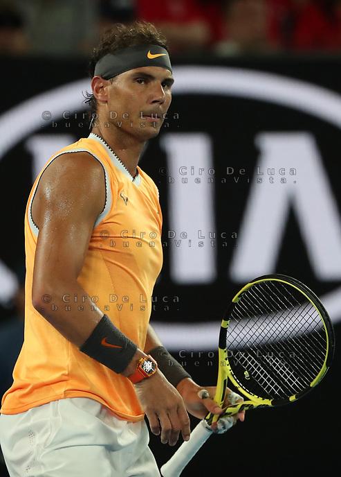 16th January 2019, Melbourne Park, Melbourne, Australia; Australian Open Tennis, day 3; Rafae l  Nadal of Spain reacts during a match  against Matthew Eden of Australia