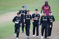 New Zealand players celebrate the wicket of Chris Gayle during West Indies vs New Zealand, ICC World Cup Warm-Up Match Cricket at the Bristol County Ground on 28th May 2019
